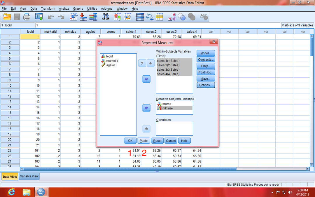 SPSS Repeated Measures OK/Paste Model Dialogue Window