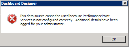 The data source cannot be used because PerformancePoint Services is not configured correctly. Additional details have been logged for your administrator