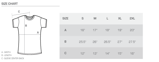 Ladies' tee size chart