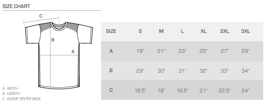 CB Perf tee size chart