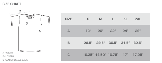 Premium tee size chart
