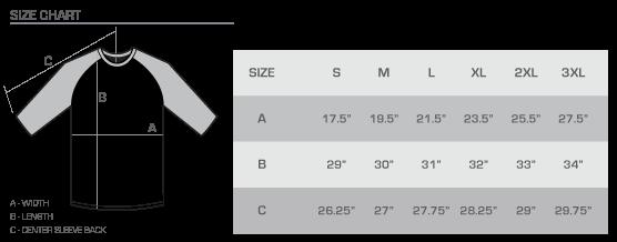 Raglan size chart