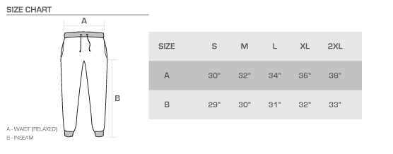 jogger size chart