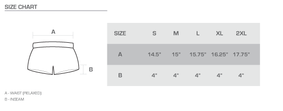 ladies shorts size chart