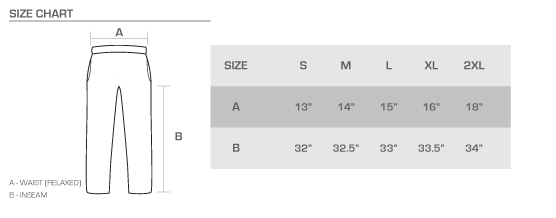 sweats size chart