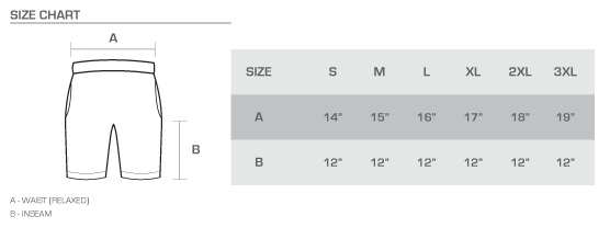 fleece shorts size chart