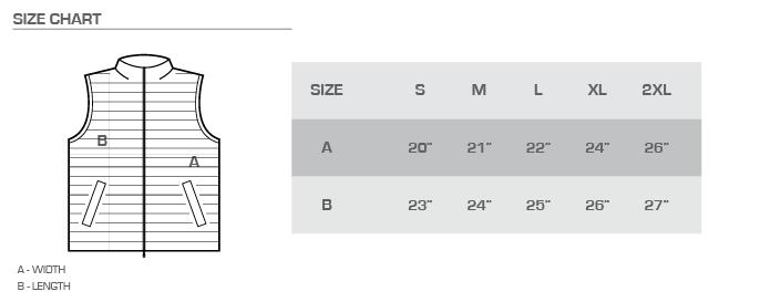 puff vest size chart