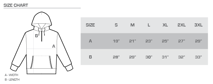 perfect hoodie size chart