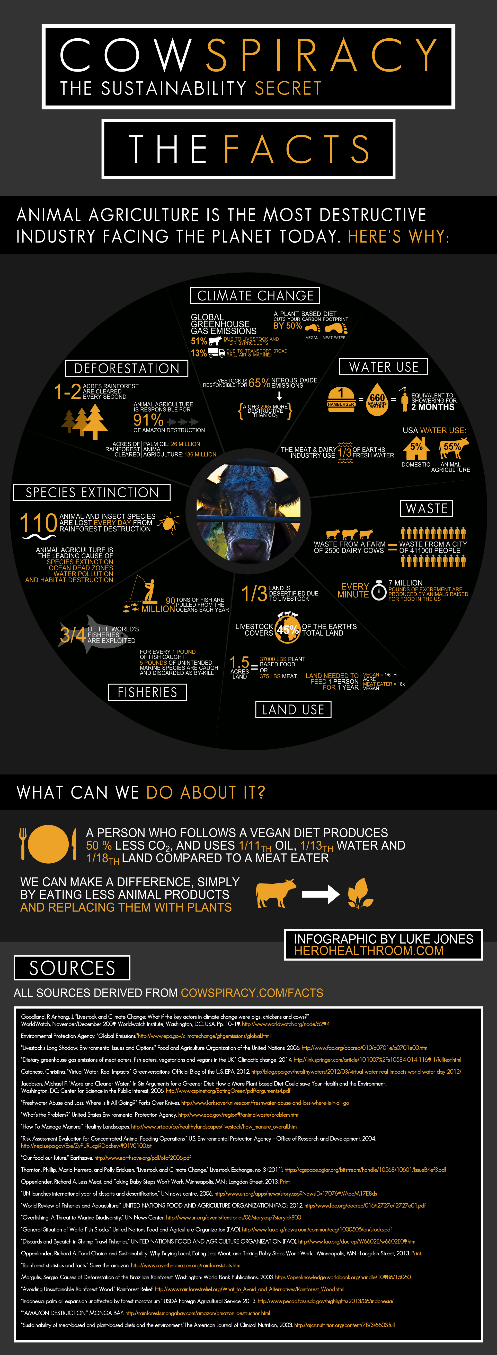 Vegan Infographic Cowspiracy Infographic Ecomil Disturbing Facts And Figures Related To Animal Agriculture Bebida