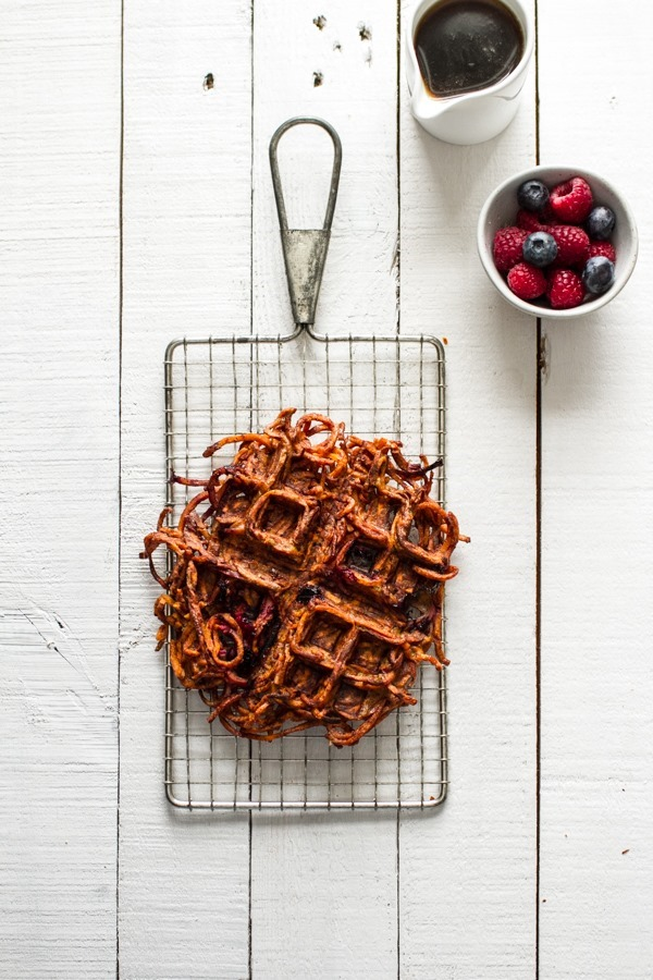 Blueberry Sweet Potato Waffles | edibleperspective.com