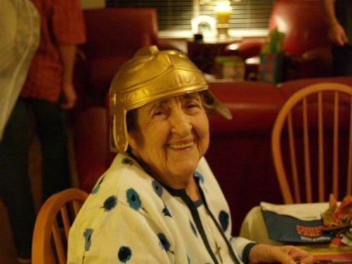 Luza with helmet