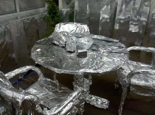 Foil covered table and chairs