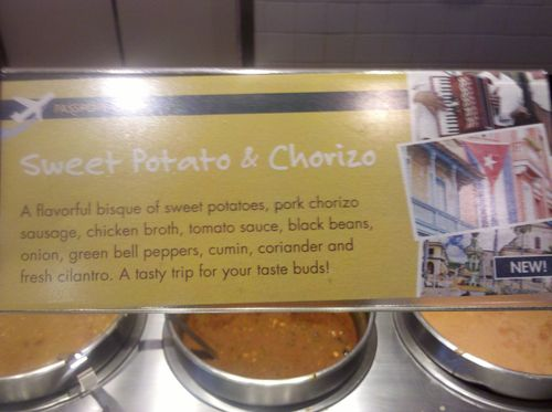 Sweet potato and chorizo soup description