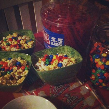 M&ms & popcorn
