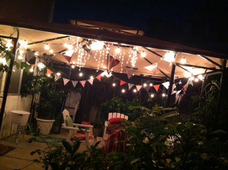 Decorative flags on the patio