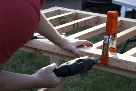 Farmhouse table drilling
