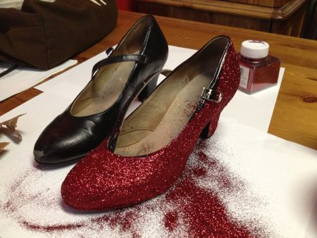 Ruby slippers half done