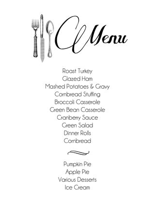 Thanksgiving menu 12