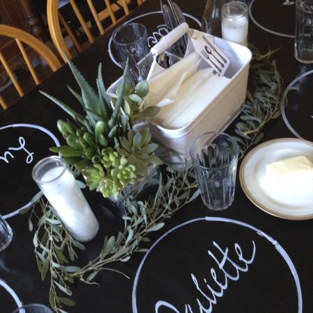 Chalkboard table settings