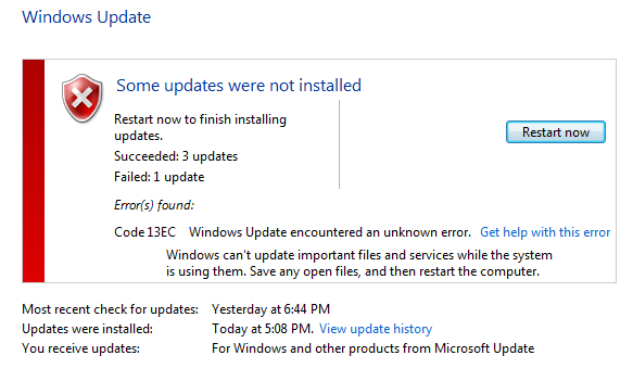 You, stupid! Didn't you know that I can not update system files while I'm running?!