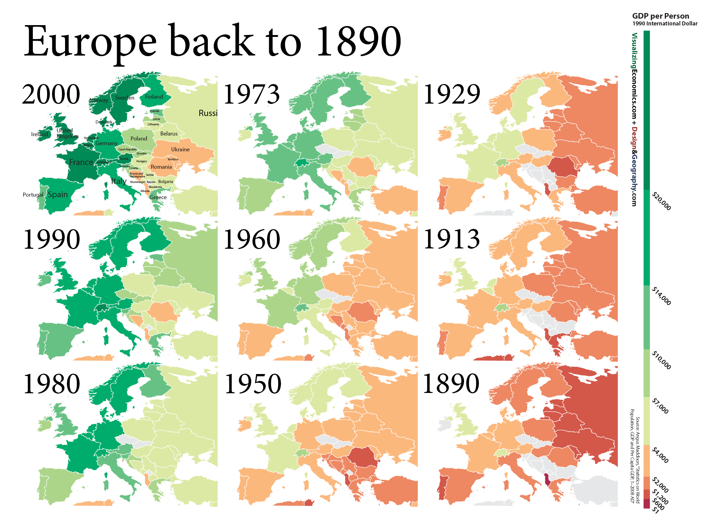 Gdp Per Capita In Europe Back To 1890 Europe