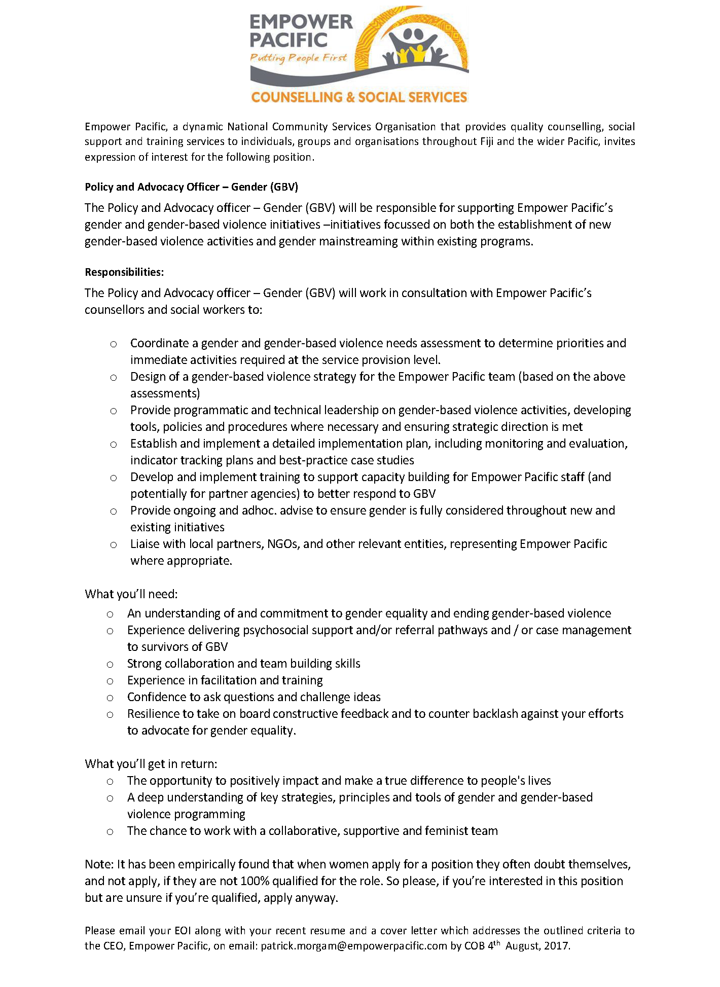 policy and advocacy officer