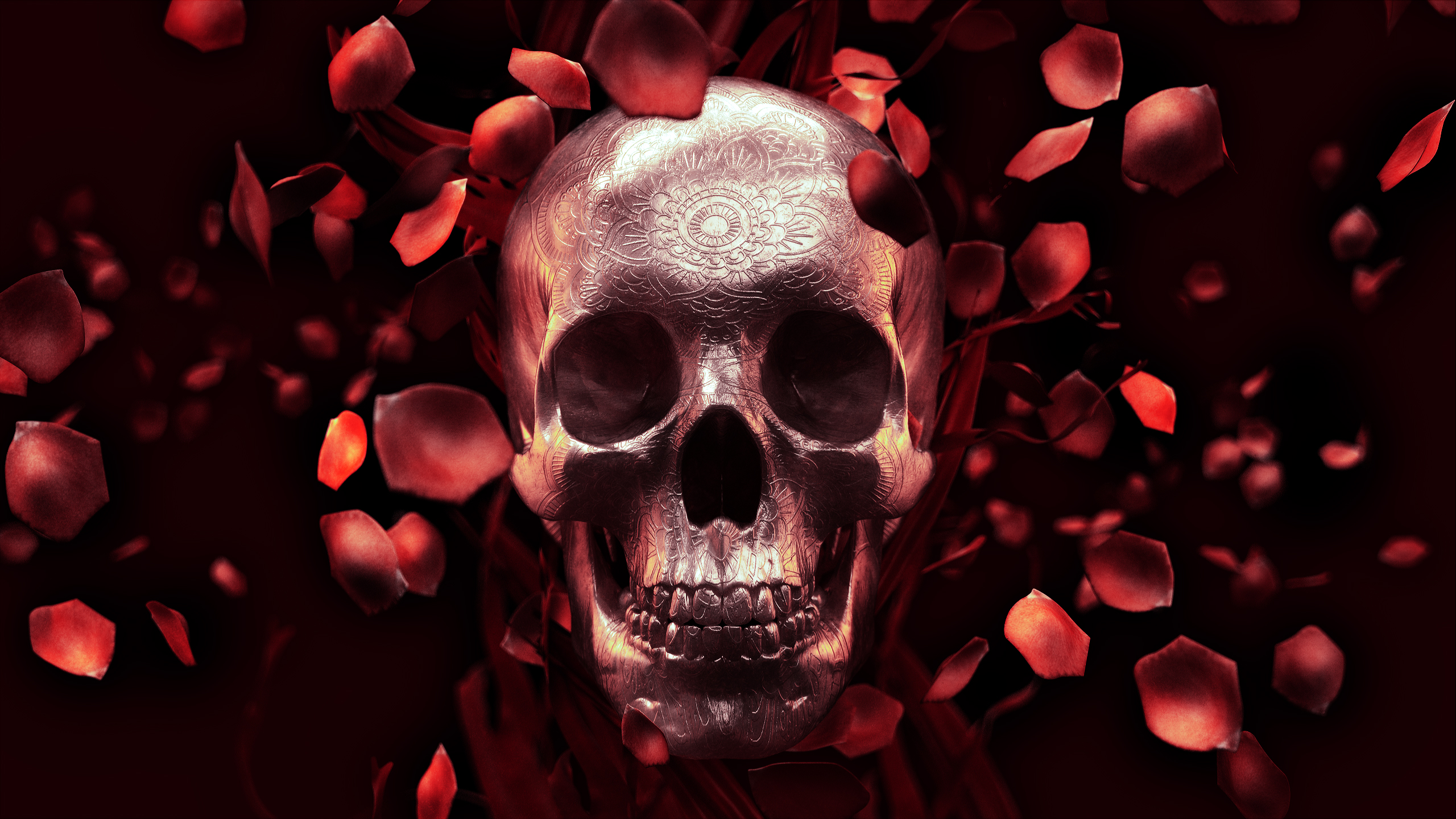 skull and roses wallpapers - photo #2