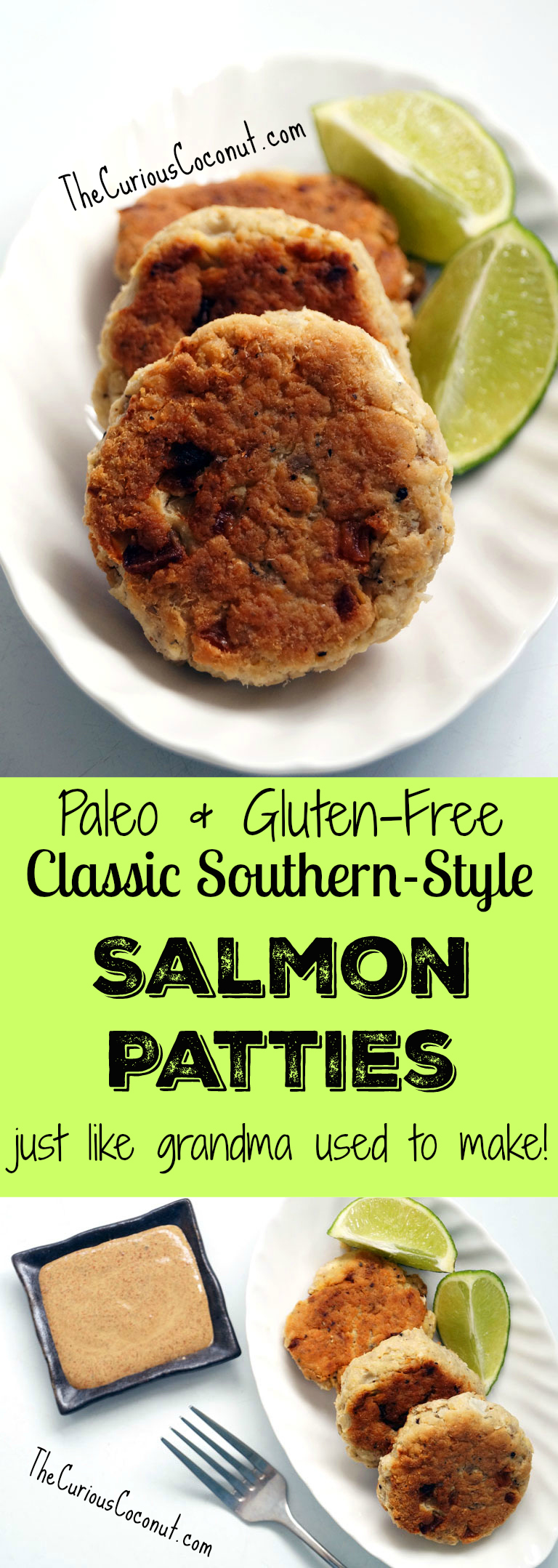 Just like Grandma used to make - Southern-style salmon patties with a secret sauce! Paleo and gluten-free. // TheCuriousCoconut.com