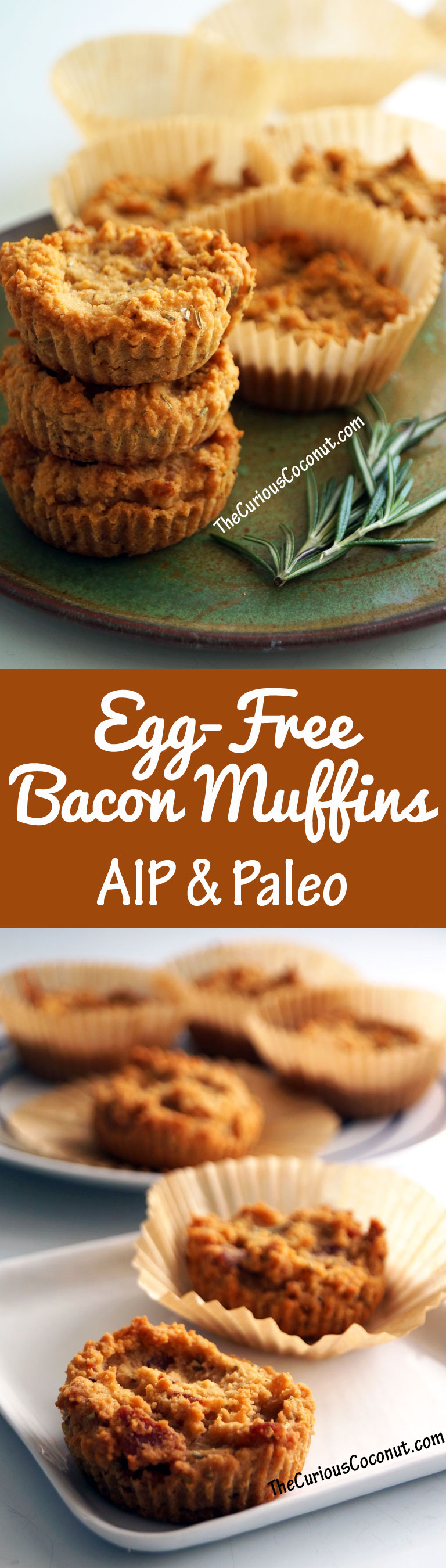 Egg-Free Bacon Herb Muffins. Protein-packed, delicious, perfect for the #AIP paleo protocol. // TheCuriousCoconut.com