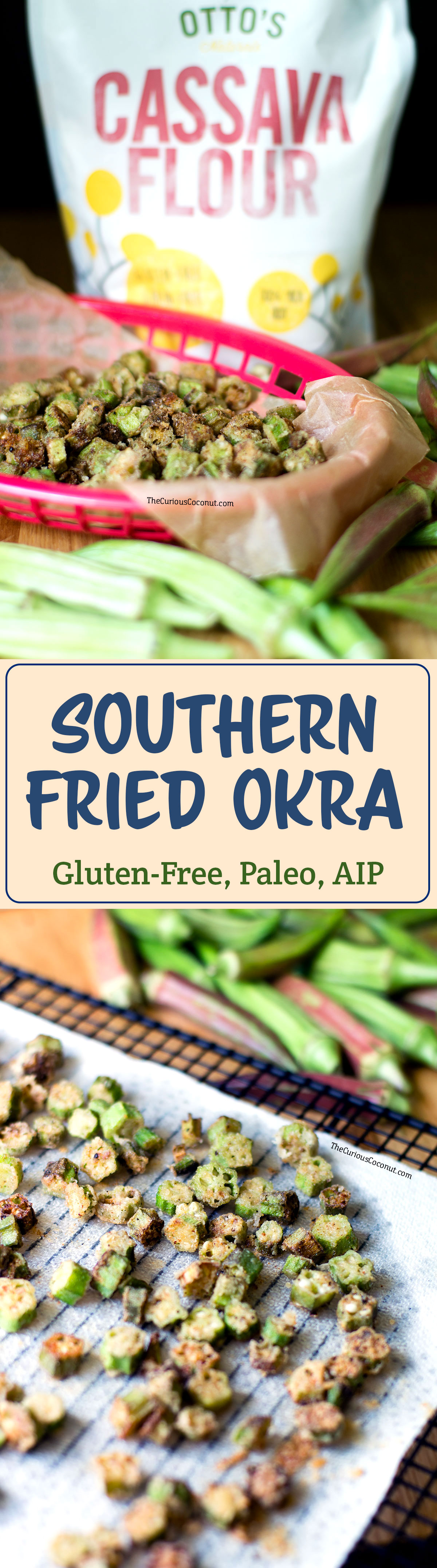 Southern Fried Okra // (Paleo, AIP, Gluten-free, Egg-free, Vegan)// TheCuriousCoconut.com