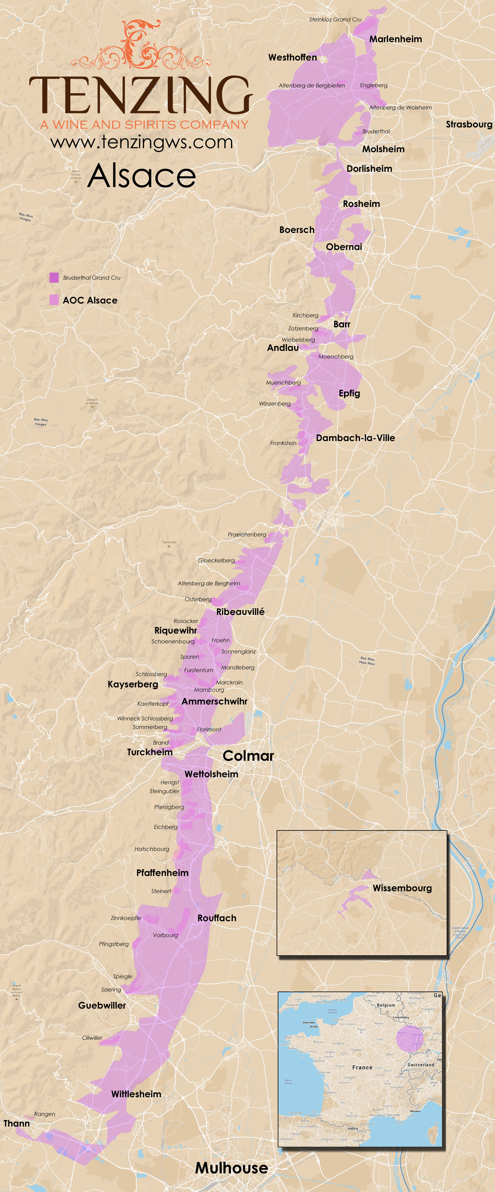 MAP Detailed Google Map of Alsace with all Grand Crus Fernando