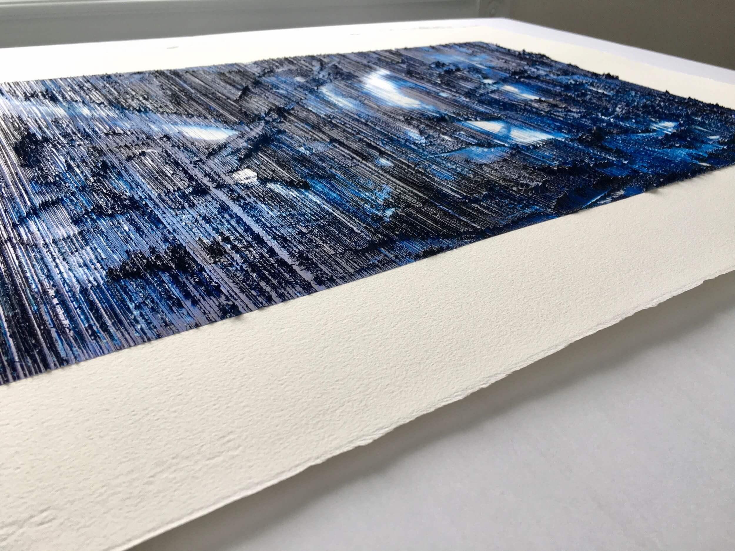 Vue rapprochée de la texture de l'œuvre sur papier de coton intitulée 'Le Départ'