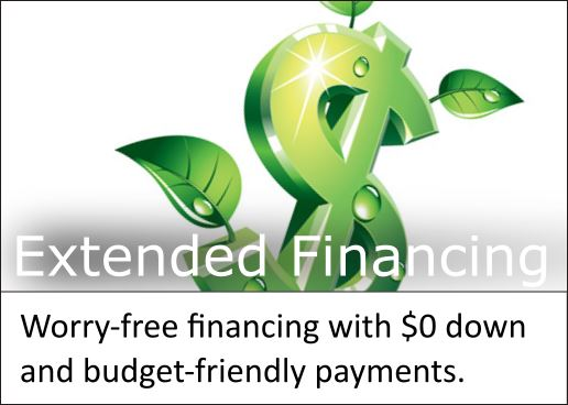 Flexible extended financing offers payments comfortably within budget.