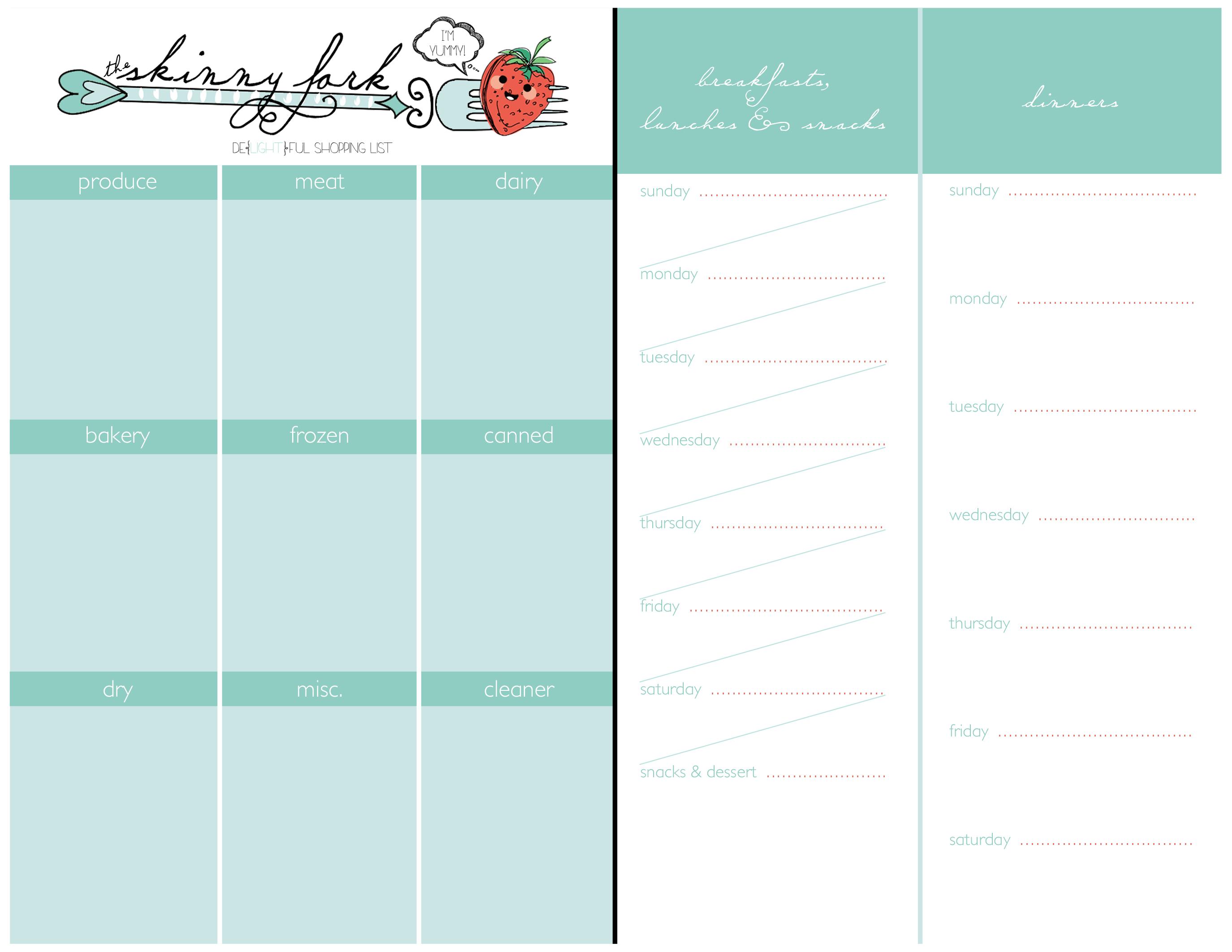 Shopping List & Meal Planner — The Skinny Fork