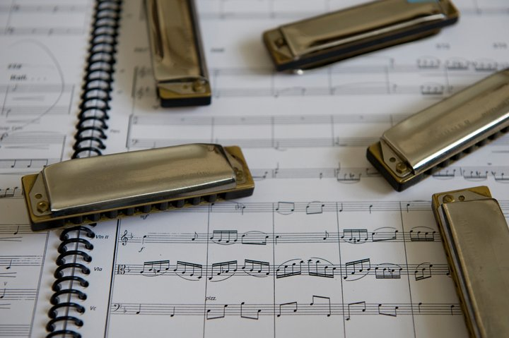 Click photo to download. Caption: Howard Levy's harmonicas and musical notation. Credit: Bob Kessler.