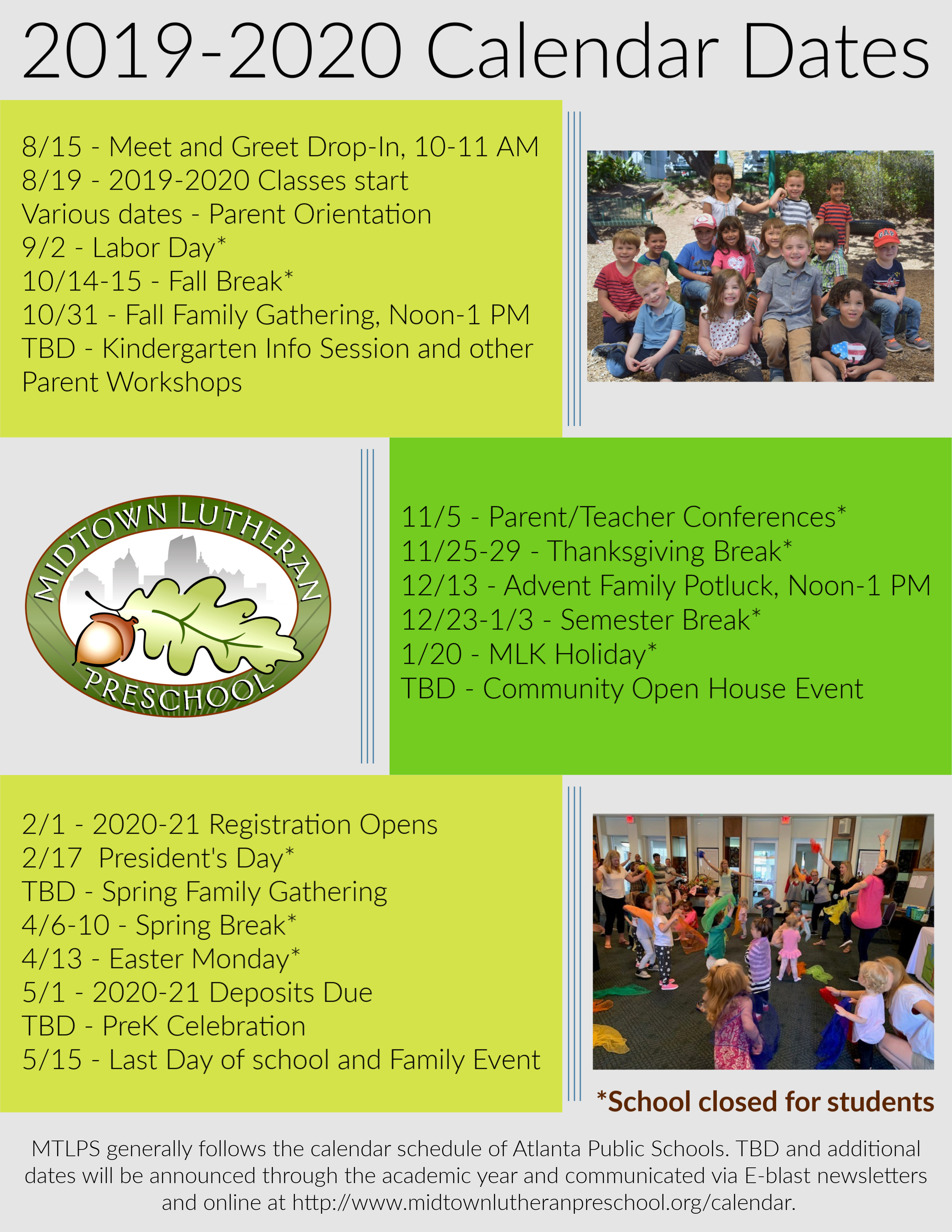 Calendar — Midtown Lutheran Preschool