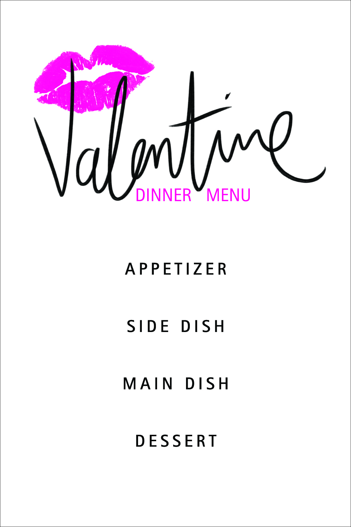 Download your free valentine 39 s day dinner menu here for Romantic valentine dinner menu ideas