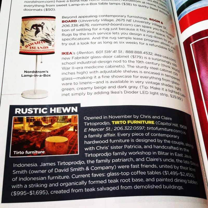May 2014: A Write Up In May 2014 Seattle Magazine; October 2013: Tirto  Furniture ...
