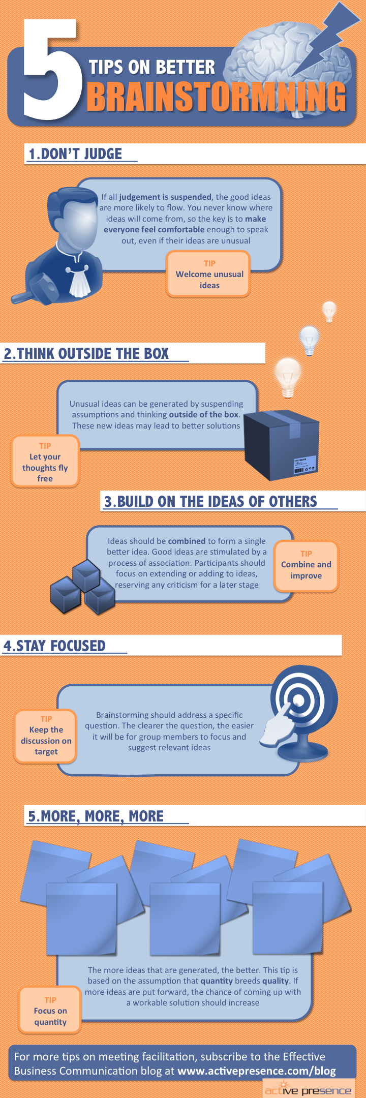 infographic 5 tips on better brainstorming active presence