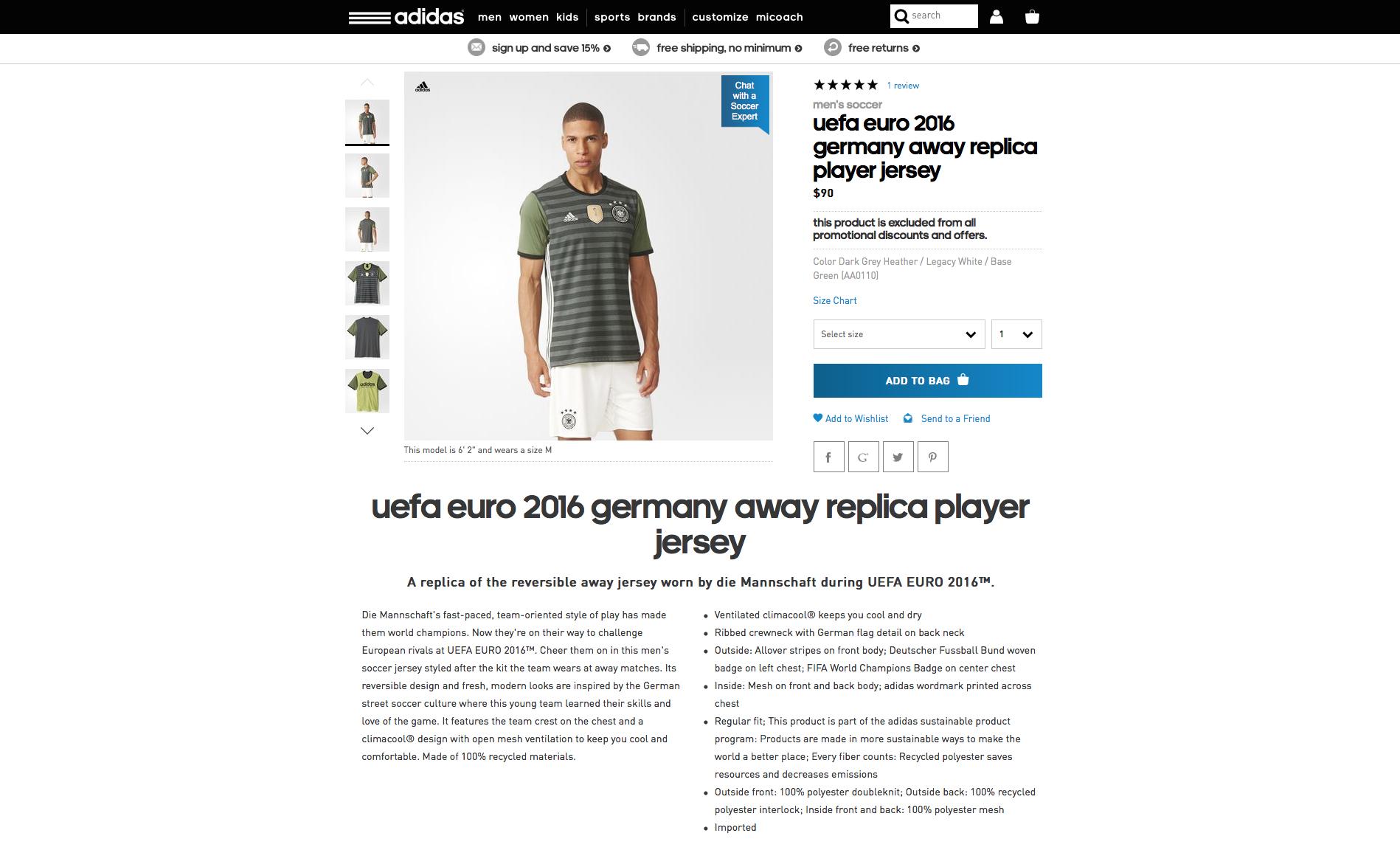 3386e1909c UEFA EURO 2016 Germany Away Jersey