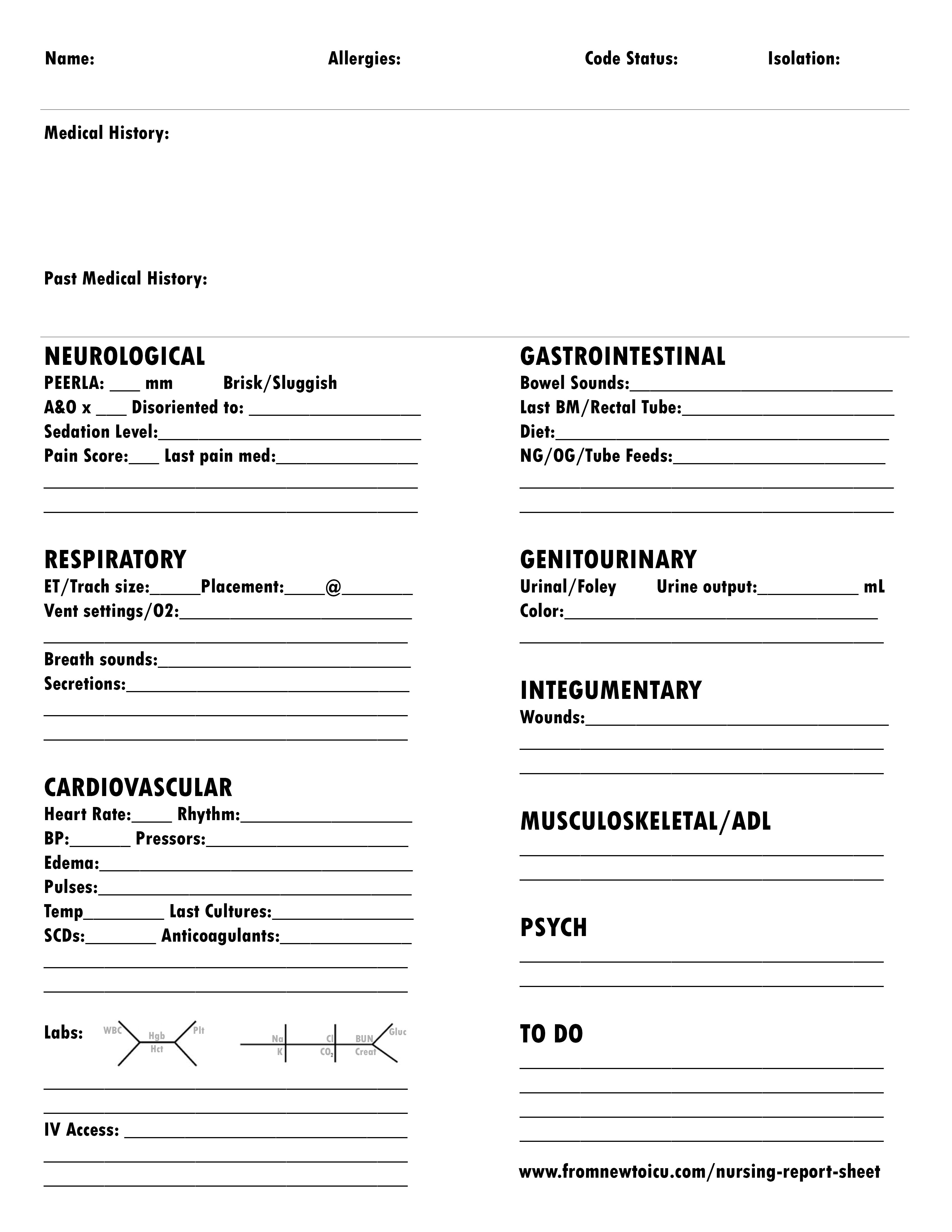 What Makes the Perfect Nursing Report Sheet? — From New to ICU