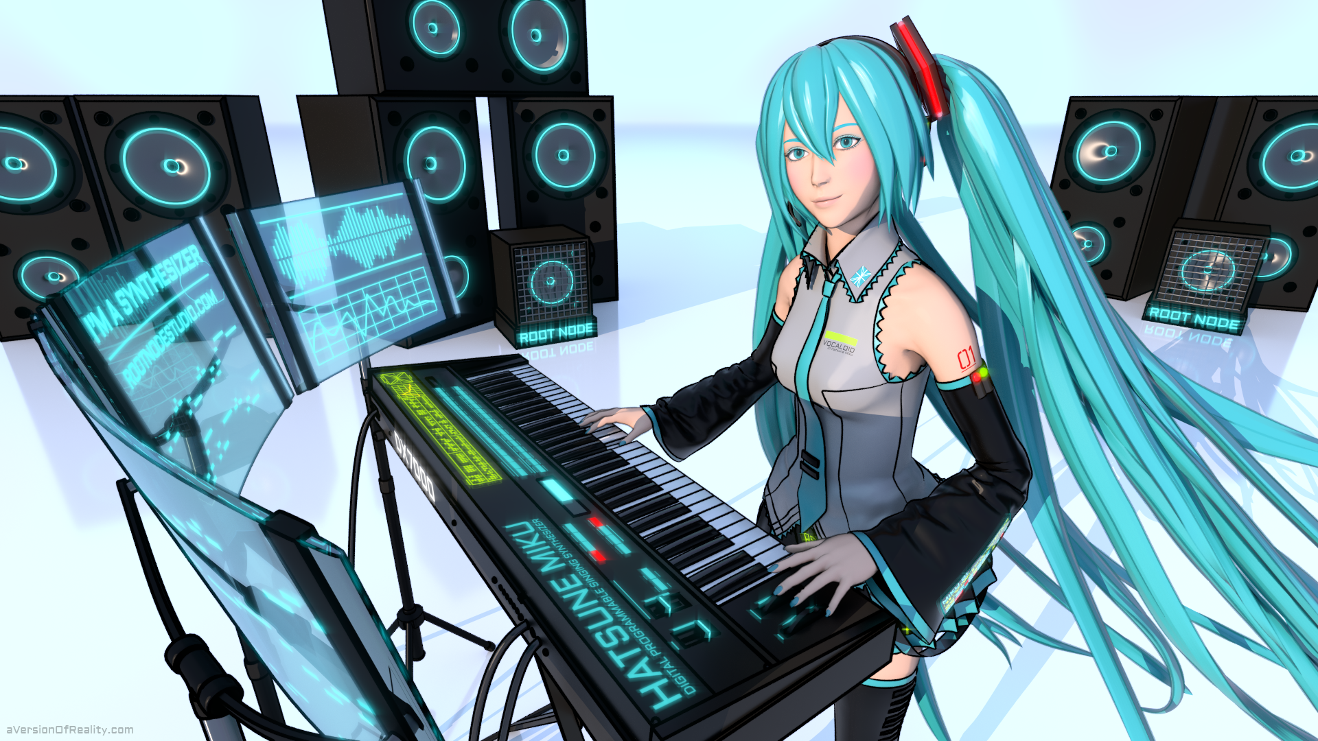 hatsune miku i m a synthesizer cover art aversion of reality