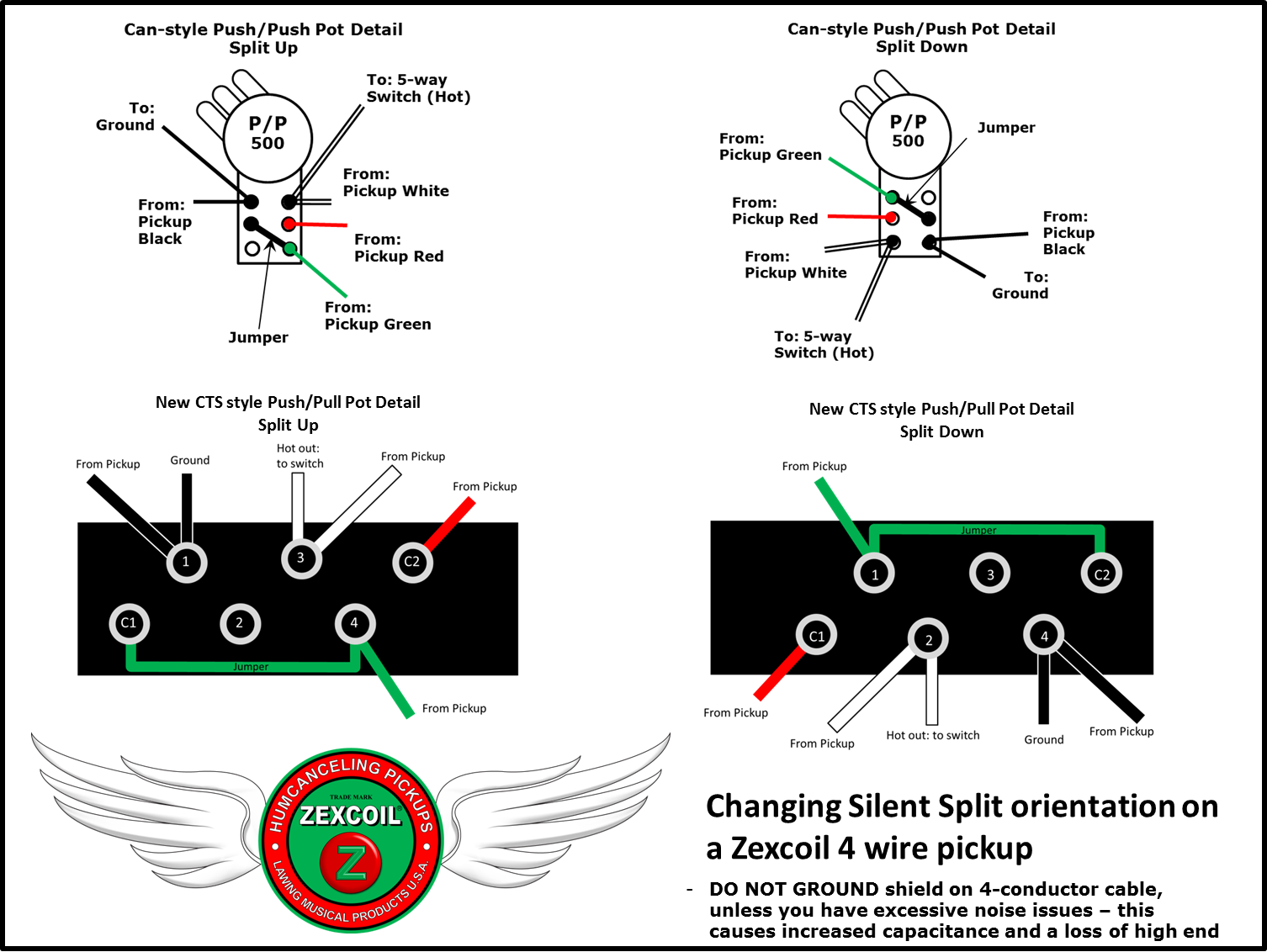 Four Wire Humbucker Wiring Diagram Lawing Musical Products Diagrams