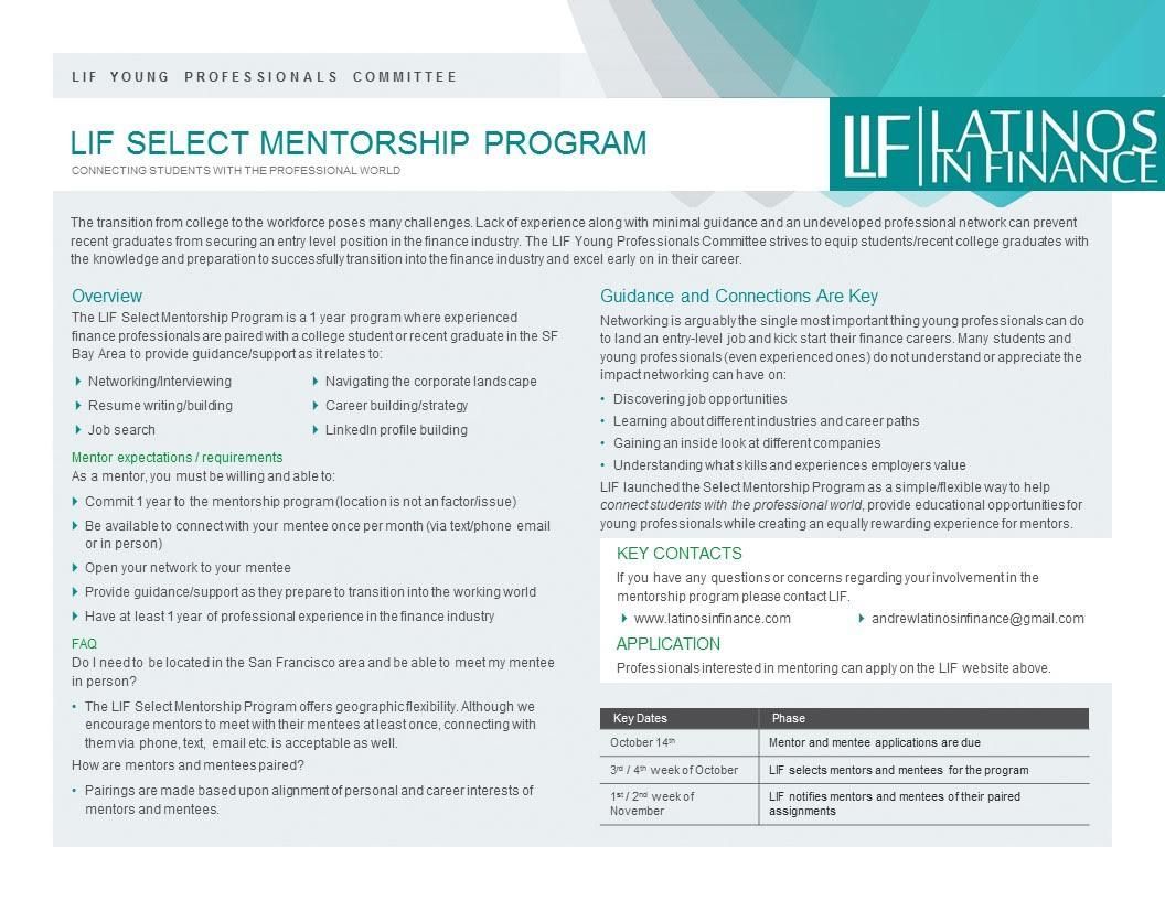 LIF Select Mentorship Program — Latinos in Finance