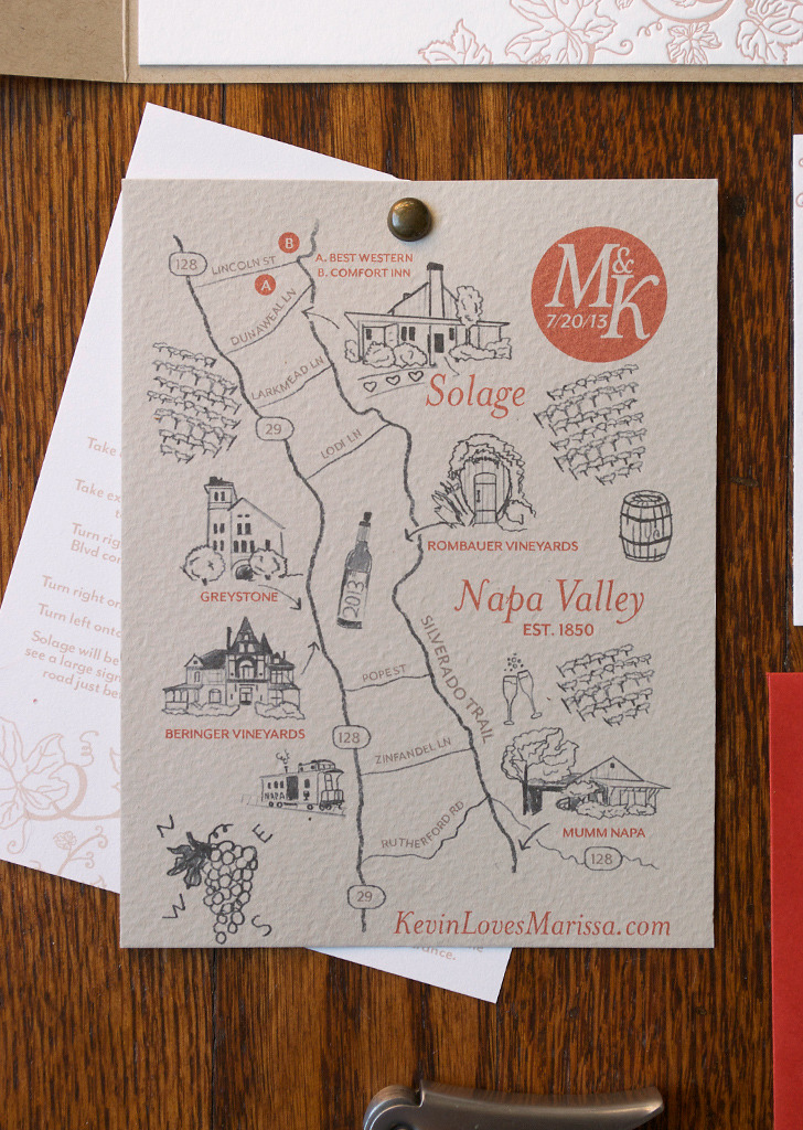 Silverado Trail Wedding Map