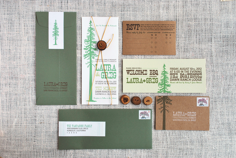 Rustic Redwood Wedding Invitation Suite