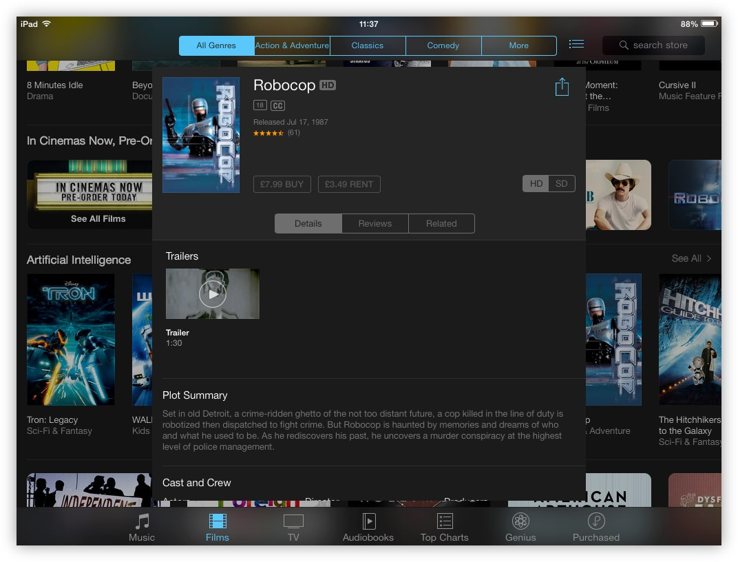 Restrictions also apply to the iTunes Store, preventing movies from even being previewed or purchased