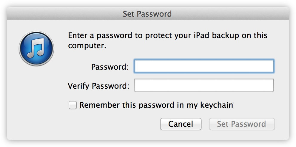 A password must be set which can optionally be saved to Keychain