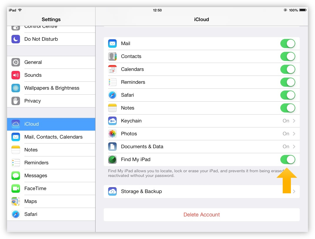 Find My iPad/iPhone is disabled directly on the iOS device