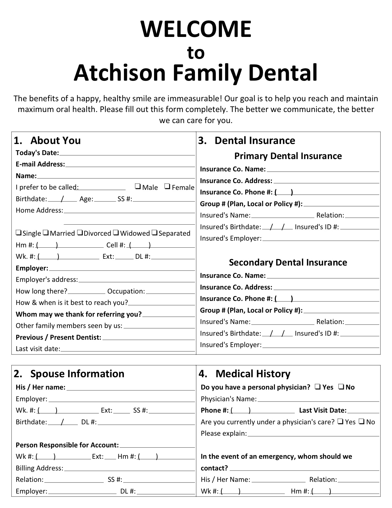 new patient forms atchison family dental
